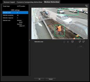 Nastavení detekčních zón - SONY SNC-CH260