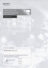Certifikovaný partner SONY pro rok 2011