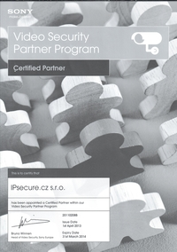Certifikovaný partner SONY pro rok 2013